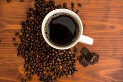新鲜,精神充沛的咖啡用巧克力 库存图片