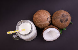新鲜,自然和成熟椰子和一个大金属螺盖玻璃瓶的构成用有机牛奶在黑暗的紫色背景 库存照片