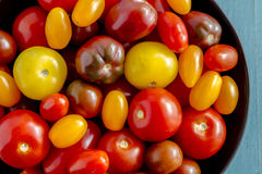 新鲜从在碗的庭院蕃茄 免版税图库摄影