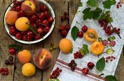 新鲜水果和莓果在木背景 成熟甜樱桃、无核小葡萄干、桃子和杏子在碗在厨房用桌上 免版税库存照片