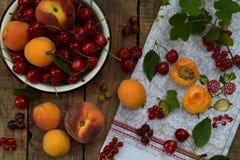 新鲜水果和莓果在木背景 成熟甜樱桃、无核小葡萄干、桃子和杏子在碗在厨房用桌上 图库摄影