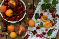 新鲜水果和莓果在木背景 成熟甜樱桃、无核小葡萄干、桃子和杏子,在厨房用桌上的桑树 图库摄影