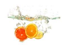 新鲜水果在流体沐浴 库存照片