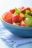 新鲜水果沙拉用草莓,苹果,油桃,石榴 免版税库存图片