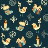 新年、圣诞节样式与狐狸和月亮 免版税库存照片
