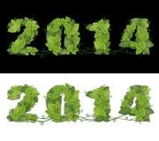 新年2014年。日期排行了有露水下落的绿色叶子。 免版税库存图片