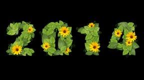 新年2014年。日期被排行的绿色叶子和花。 免版税库存图片