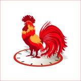 新年-一只红色雄鸡的标志 库存照片