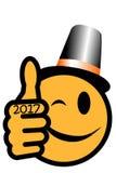 新年与党帽子的` s面带笑容2017年 免版税库存图片