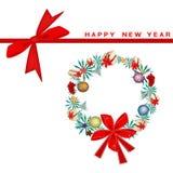 新年与圣诞节花圈的礼品券 免版税库存照片