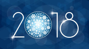 新年2018与白色雪花的传染媒介例证 库存照片