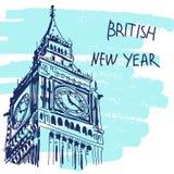 新年传染媒介例证 举世闻名的Landmarck系列:大本钟,伦敦,英国 英国新年 免版税库存照片