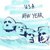 新年传染媒介例证 举世闻名的Landmarck系列:美国,拉什莫尔山,六个祖父 美国新年度 免版税库存照片