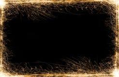 新年党在黑背景的闪烁发光物框架 库存图片