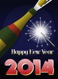 2014新年减速火箭的海报 库存图片