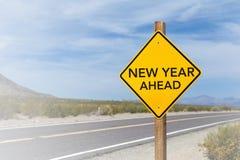 新年前面路标 免版税库存图片