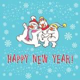 新年贺卡。雪人。 免版税库存照片