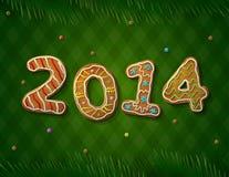 新年卡片在姜饼形状的2014年  免版税库存图片