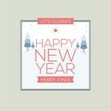 新年卡片葡萄酒样式 免版税库存照片