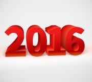 新年2016发光的3d红色 库存图片