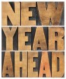 新年向前在木类型 免版税库存照片