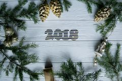 新年和冬天在与杉树的白色木背景设置了 免版税图库摄影