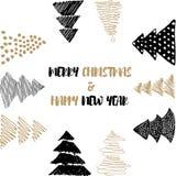 新年和圣诞快乐明信片 免版税库存图片