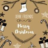 新年和圣诞快乐明信片 库存照片