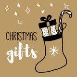新年和圣诞快乐明信片 免版税库存照片