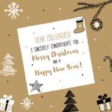 新年和圣诞快乐明信片 图库摄影