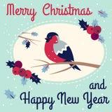 新年和圣诞快乐红腹灰雀 库存例证