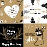 新年和圣诞快乐集合明信片 免版税库存图片