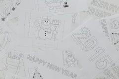 新年和圣诞节图纸 图库摄影