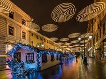 新年和圣诞节城市的照明设备装饰 俄罗斯, 图库摄影