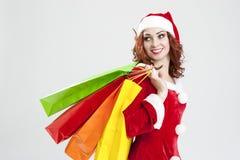 新年和圣诞节概念和想法 微笑的白种人红 免版税库存图片