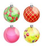 新年和圣诞节球被设置的传染媒介 免版税库存照片