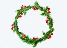 新年和圣诞节缠绕-杉树和槲寄生在白色 免版税图库摄影