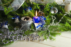 新年和圣诞节辅助部件 免版税库存图片