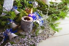 新年和圣诞节辅助部件 库存照片