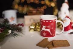 新年和圣诞节deco与闪耀的光 免版税图库摄影