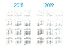 新年2018年和2019传染媒介日历现代简单设计 向量例证