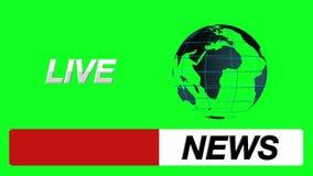 新闻商标防撞器、地球和活象在绿色屏幕背景 向量例证