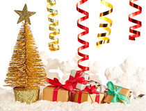 新年2016年 圣诞树,礼物 库存图片