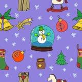 新年圣诞节无缝的样式集合 象查找的画笔活性炭被画的现有量例证以图例解释者做柔和的淡色彩对传统 库存图片