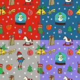 新年圣诞节无缝的样式集合 象查找的画笔活性炭被画的现有量例证以图例解释者做柔和的淡色彩对传统 库存照片