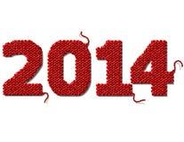 新年在白色隔绝的2014年被编织的织品  免版税库存图片