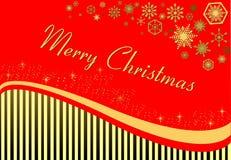新年在红色背景的` s卡片与条纹 免版税库存图片