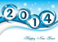 新年2014年在蓝色背景中 免版税库存图片