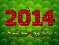 新年2014年在绿色backgroun的被编织的织品 免版税库存图片