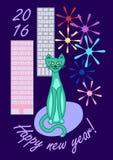 新年城市猫 库存照片